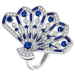 Garrard 'Fanfare Symphony' White Gold Diamond Sapphire and Lapis Lazuli Ring