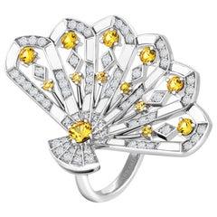 Garrard 'Fanfare Symphony' White Gold Diamond Sapphire and White Agate Ring