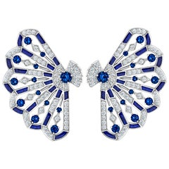 Garrard 'Fanfare Symphony' White Gold Diamond Sapphire Lapis Lazuli Earrings