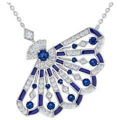 Garrard 'Fanfare Symphony' White Gold Diamond Sapphire Lapis Lazuli Pendant