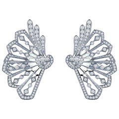 Garrard 'Fanfare' White Gold Climber Earrings Diamond and Mother of Pearl
