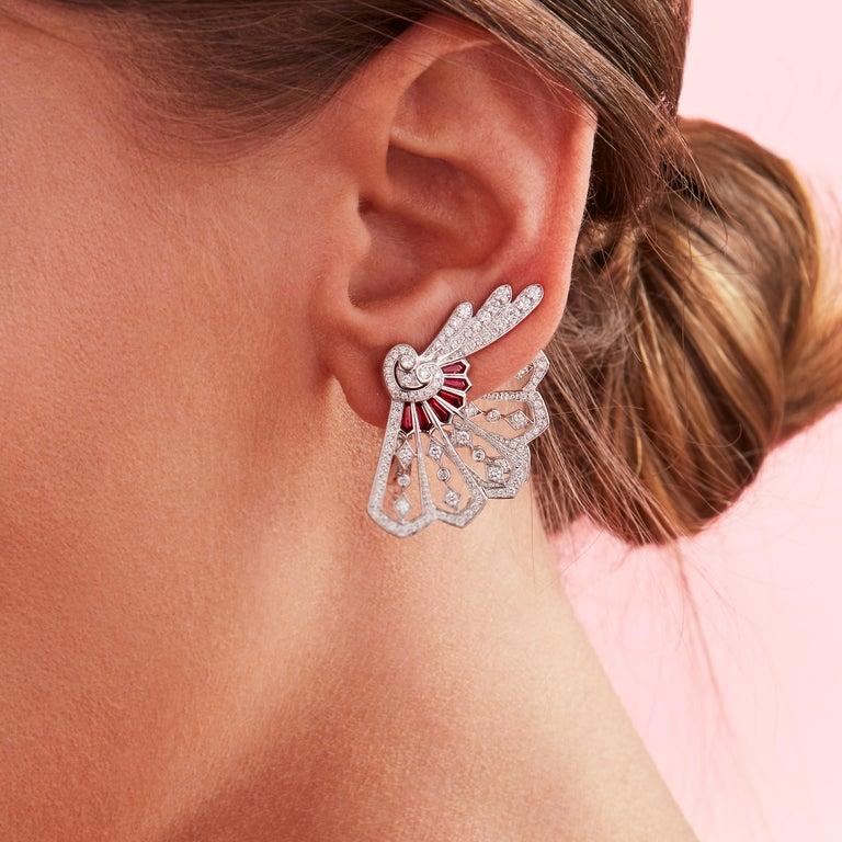 Garrard Fanfare White Gold Climber Earrings White Diamond and Calibre Cut Rubies 3