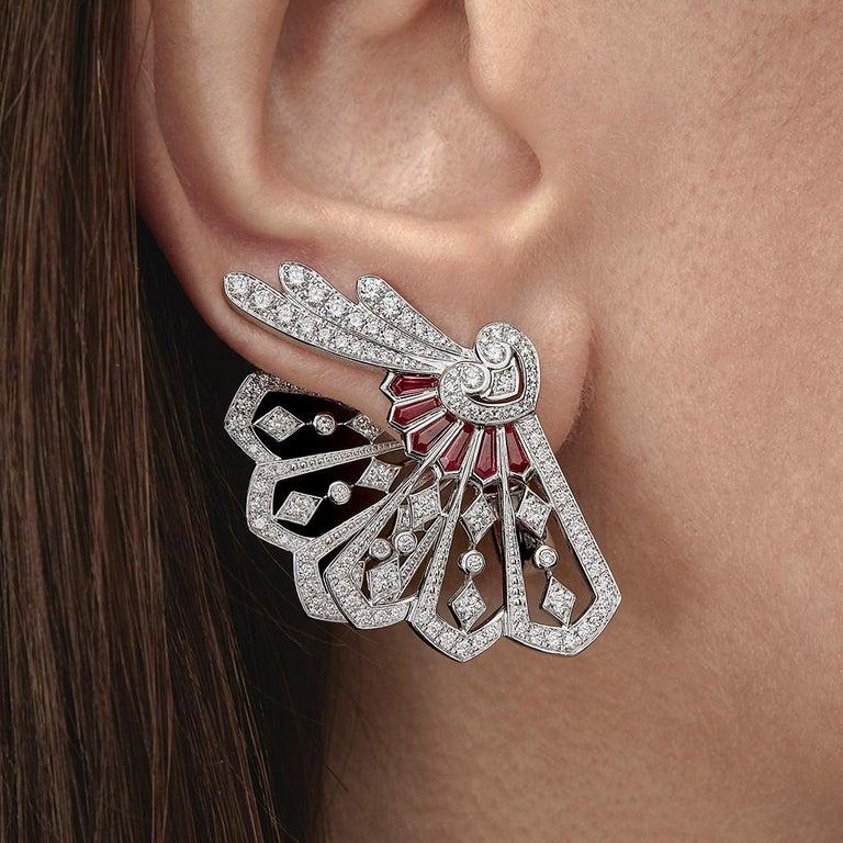 Garrard Fanfare White Gold Climber Earrings White Diamond and Calibre Cut Rubies 4