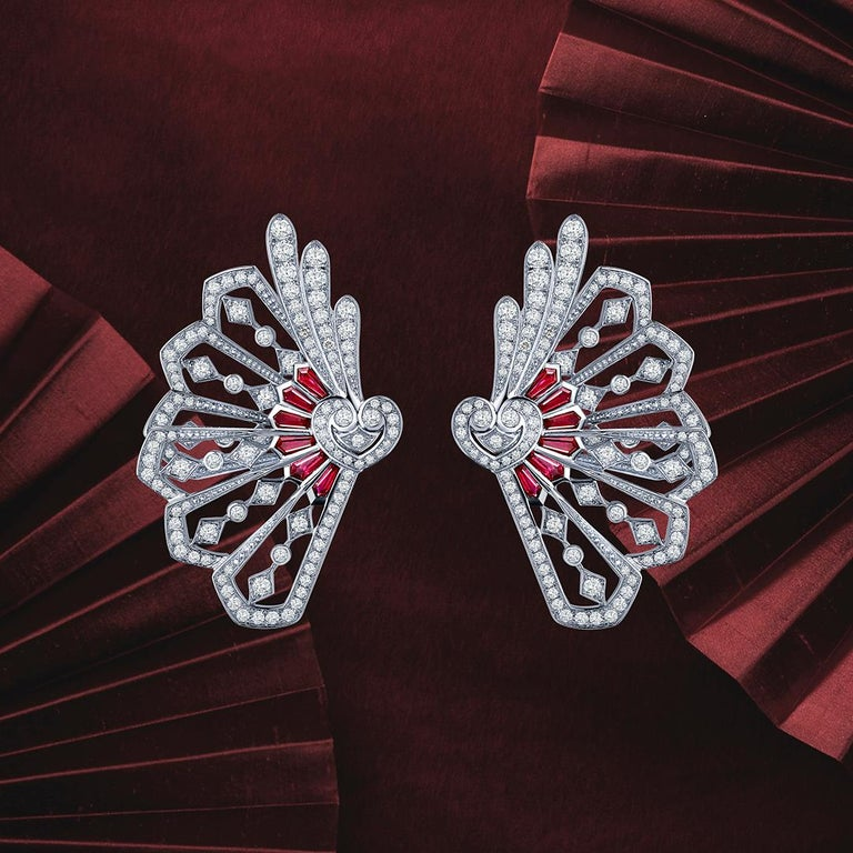Garrard 'Fanfare' White Gold White Diamond and Calibre Cut Ruby Ear Climbers  In New Condition For Sale In London, London