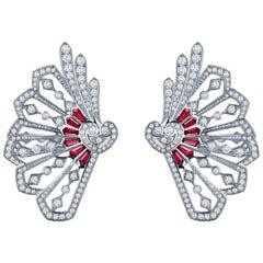 Garrard 'Fanfare' White Gold White Diamond and Calibre Cut Ruby Ear Climbers