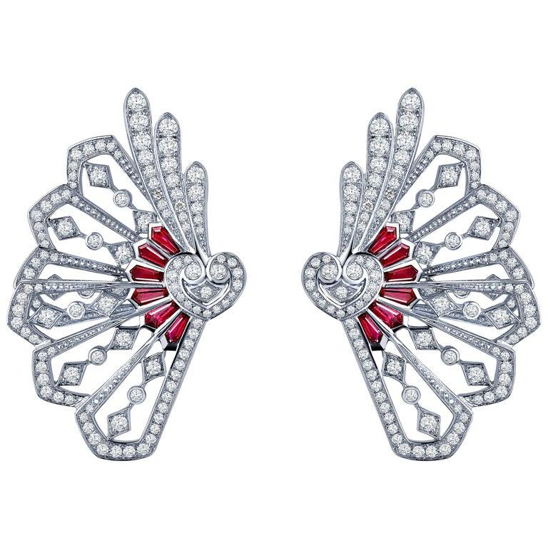 Garrard Fanfare White Gold Climber Earrings White Diamond and Calibre Cut Rubies 1