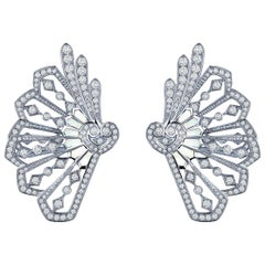 Garrard Fanfare White Gold Climber Earrings White Diamond & Mother of Pearl