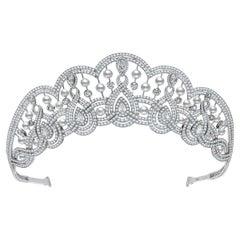 Garrard 'Garland Tiara' 18 Karat White Gold Pearl & White Diamond Round & Pear