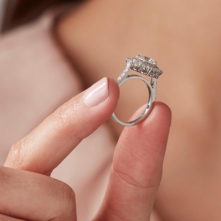 Garrard 'Harmony' Platinum Round White Diamond GIA 3.22 Karat Engagement Ring In New Condition For Sale In London, London