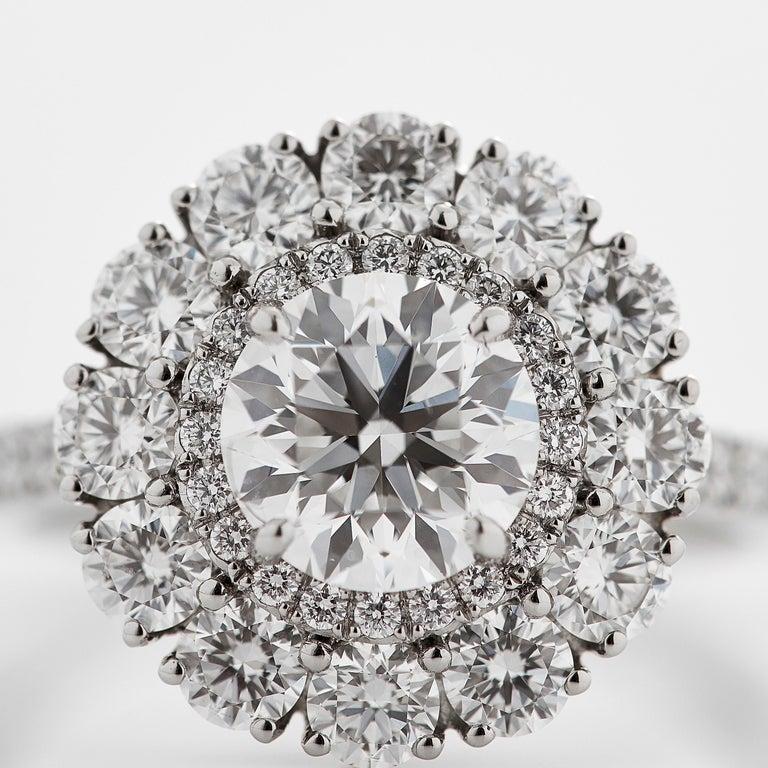 Women's or Men's Garrard 'Harmony' Platinum Round White Diamond GIA 3.22 Karat Engagement Ring For Sale