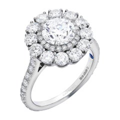 Garrard 'Harmony' Platinum Round White Diamond GIA 3.22 Karat Engagement Ring
