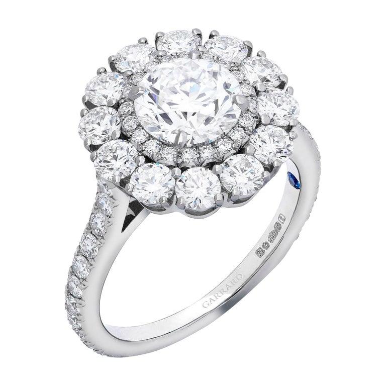 Garrard 'Harmony' Platinum Round White Diamond GIA 3.22 Karat Engagement Ring For Sale
