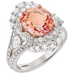 Garrard 'Jewelled Vault' 18 Karat White Gold Diamond Padparadscha Sapphire Ring