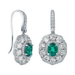 Garrard 'Jewelled Vault' 18 Karat White Gold Emerald and White Diamond Earrings