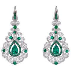Garrard 'Jewelled Vault' 18 Karat White Gold Emerald White Diamond Earrings