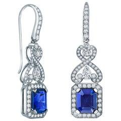Garrard 'Jewelled Vault' White Gold White Diamond and Blue Sapphire Earrings
