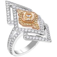 Garrard 'Kensington Suite' 18 Karat White Gold Asscher Cut Yellow & Diamond Ring