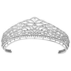 Garrard 'Laurel Tiara' 18 Karat White Gold White, Rose Cut & Briolette Diamond