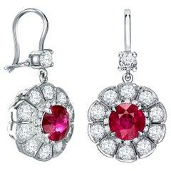 Garrard 'Marguerite 1735' Platinum White Diamond and Ruby Drop Earrings