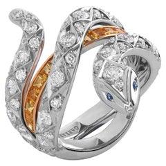 Garrard 'Muse' 18 Karat Gold White Diamond and Sapphire Signature Serpent Ring