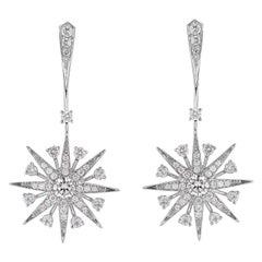 Garrard 'Muse' 18 Karat White Gold and White Diamond Starlight Earrings