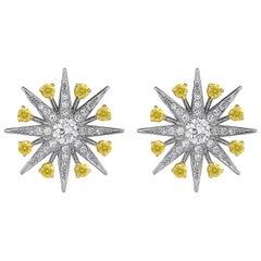 Garrard 'Muse' 18 Karat White Gold White and Yellow Diamond Starlight Earrings