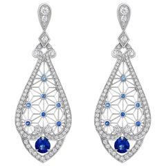 Garrard 'Muse' 18 Karat White Gold, White Diamond and Sapphire Filigree Earrings