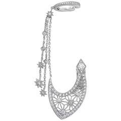 Garrard 'Muse' 18 Karat White Gold White Diamond Filigree Asymmetry Earrings