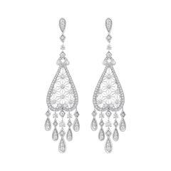 Garrard 'Muse' 18 Karat White Gold White Diamond Filigree Drop Earrings