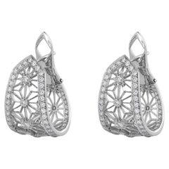 Garrard 'Muse' 18 Karat White Gold White Diamond Filigree Hug Earrings