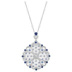 Garrard 'Muse' Filigree 18 Karat White Gold Diamond and Blue Sapphire Necklace