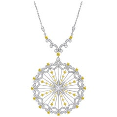 Garrard 'Muse Starlight' 18 Karat White Gold White and Yellow Diamond Necklace
