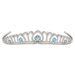 Garrard 'Princess Catherine Tiara' 18 Karat Gold White Diamond and Aquamarine
