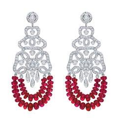 Garrard 'Red Rose' 18 Karat White Gold White Diamond Ruby Earrings