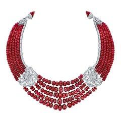 Garrard 'Red Rose' 18 Karat White Gold White Diamond Ruby Necklace