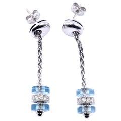 Garrard Regal 18 Karat White Gold Diamond and Aquamarine Earrings