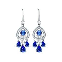 Garrard 'Regal' 18 Karat White Gold Diamond and Blue Sapphire Drop Earrings