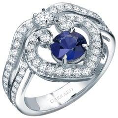 Garrard 'Regal' 18 Karat White Gold White Diamond and Round Blue Sapphire Ring