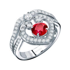 Garrard 'Regal Cascade' 18 Karat White Gold, White Diamond and Ruby Ring