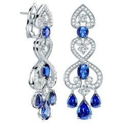 Garrard 'Regal Cascade' 18 Karat White Gold White Diamond Blue Sapphire Earrings