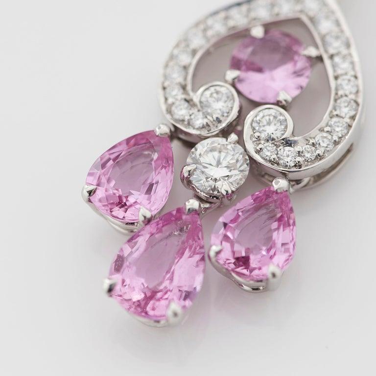 Round Cut Garrard 'Regal Cascade' 18 Karat White Gold White Diamond Pink Sapphire Earrings For Sale