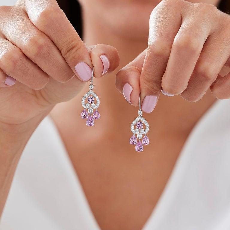 Modern Garrard 'Regal Cascade' 18 Karat White Gold White Diamond Pink Sapphire Earrings For Sale