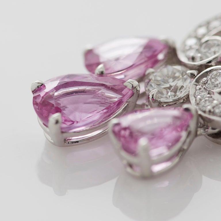 Garrard 'Regal Cascade' 18 Karat White Gold White Diamond Pink Sapphire Earrings In New Condition For Sale In London, London