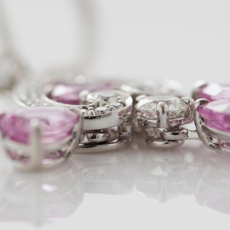 Women's or Men's Garrard 'Regal Cascade' 18 Karat White Gold White Diamond Pink Sapphire Earrings For Sale