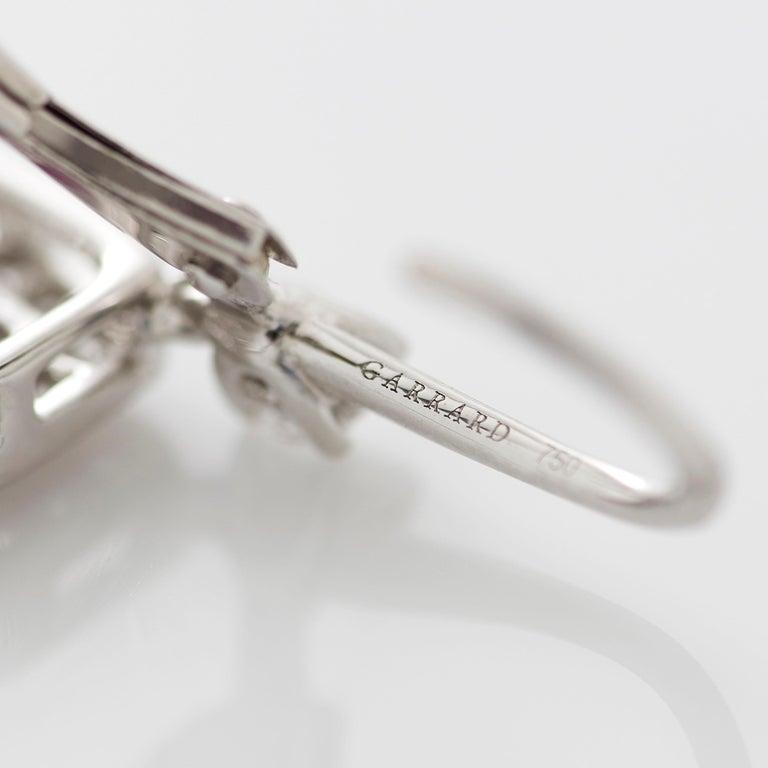 Garrard 'Regal Cascade' 18 Karat White Gold White Diamond Pink Sapphire Earrings For Sale 3