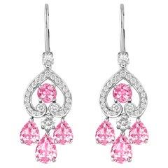 Garrard 'Regal Cascade' 18 Karat White Gold White Diamond Pink Sapphire Earrings