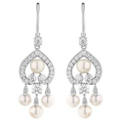 Garrard 'Regal Cascade' 18 Karat White Gold White Diamond White Pearl Earrings