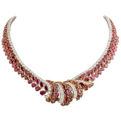 Garrard Ruby Diamond Necklace 75.50 Carat Rubies 14.26 Carat Diamonds