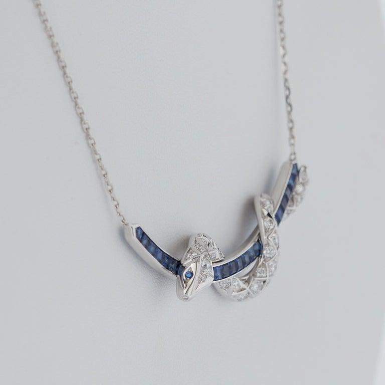 Garrard Signature Serpent 'Muse' 18 Karat Blue Sapphire & Diamond Necklace 1