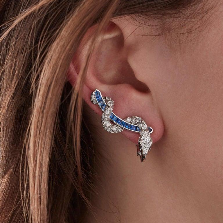 Garrard Signature Serpent 'Muse'18 Karat White Gold  Sapphire & Diamond Earrings For Sale 2
